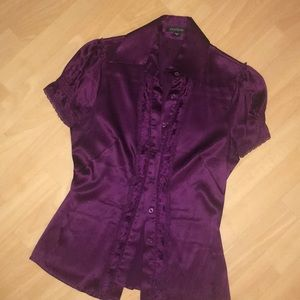 Bebe purple silk blouse XS Small